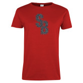 Ladies Red T Shirt-Interlocking SB Graphite Soft Glitter