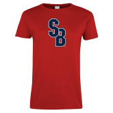 Ladies Red T Shirt-Interlocking SB, Custom Tee w/ Name and #