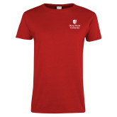 Ladies Red T Shirt-University Mark Vertical