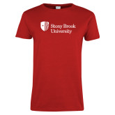 Ladies Red T Shirt-University Mark Stacked