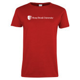 Ladies Red T Shirt-University Mark Horizontal