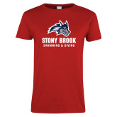 Ladies Red T Shirt-Wolfie Head Stony Book Swimming and Diving
