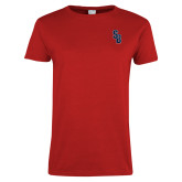 Ladies Red T Shirt-Interlocking SB
