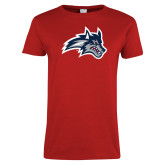 Ladies Red T Shirt-Wolfie Head