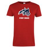 Ladies Red T Shirt-Wolfie Head and Stony Brook