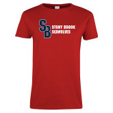 Ladies Red T Shirt-Interlocking SB Stony Brook Seawolves