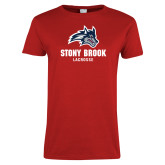 Ladies Red T Shirt-Wolfie Head Stony Book Lacrosse