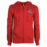 ENZA Ladies Red Fleece Full Zip Hoodie-Wolfie Head
