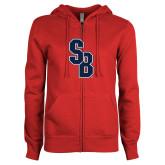 ENZA Ladies Red Fleece Full Zip Hoodie-Interlocking SB