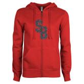 ENZA Ladies Red Fleece Full Zip Hoodie-Interlocking SB Graphite Soft Glitter