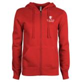ENZA Ladies Red Fleece Full Zip Hoodie-University Mark Vertical