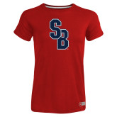 Ladies Russell Red Essential T Shirt-Interlocking SB