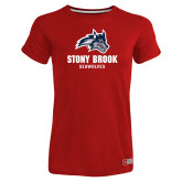 Ladies Russell Red Essential T Shirt-Wolfie Head and Stony Brook Seawolves