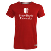 Ladies Russell Red Essential T Shirt-University Mark Vertical