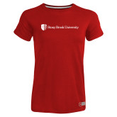 Ladies Russell Red Essential T Shirt-University Mark Horizontal