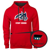 Contemporary Sofspun Red Hoodie-Wolfie Head and Stony Brook