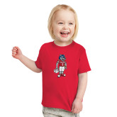 Toddler Red T Shirt-Illustrated Football Wolfie