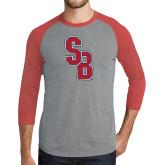 Grey/Red Heather Tri Blend Baseball Raglan-Interlocking SB