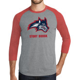 Grey/Red Heather Tri Blend Baseball Raglan-Wolfie Head and Stony Brook