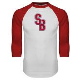 White/Red Raglan Baseball T Shirt-Interlocking SB