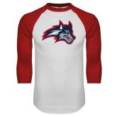 White/Red Raglan Baseball T Shirt-Wolfie Head