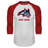 White/Red Raglan Baseball T Shirt-Wolfie Head and Stony Brook