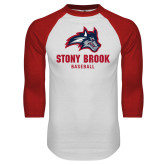 White/Red Raglan Baseball T Shirt-Wolfie Head Stony Book Baseball