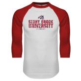 White/Red Raglan Baseball T Shirt-Stacked Distressed