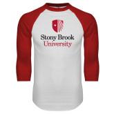 White/Red Raglan Baseball T Shirt-University Mark Vertical