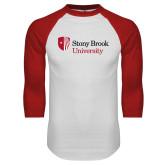 White/Red Raglan Baseball T Shirt-University Mark Stacked