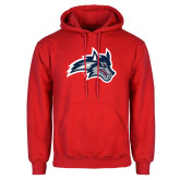 Red Fleece Hoodie-Wolfie Head