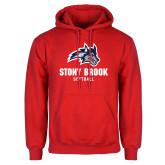 Red Fleece Hoodie-Wolfie Head Stony Book Softball