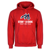 Red Fleece Hoodie-Wolfie Head Stony Book Track and Field