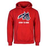 Red Fleece Hoodie-Wolfie Head and Stony Brook
