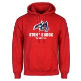 Red Fleece Hoodie-Wolfie Head Stony Book Baseball