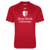 Under Armour Red Tech Tee-University Mark Vertical