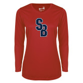 Ladies Syntrel Performance Red Longsleeve Shirt-Interlocking SB