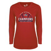 Ladies Syntrel Performance Red Longsleeve Shirt-2019 America East Baseball Champions