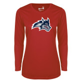 Ladies Syntrel Performance Red Longsleeve Shirt-Wolfie Head