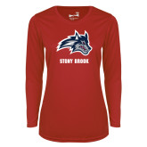 Ladies Syntrel Performance Red Longsleeve Shirt-Wolfie Head and Stony Brook