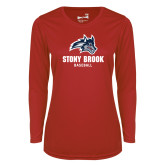 Ladies Syntrel Performance Red Longsleeve Shirt-Wolfie Head Stony Book Baseball