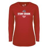 Ladies Syntrel Performance Red Longsleeve Shirt-Basketball Sharp Net
