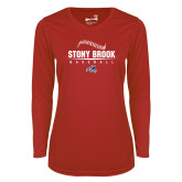 Ladies Syntrel Performance Red Longsleeve Shirt-Baseball Seams