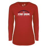 Ladies Syntrel Performance Red Longsleeve Shirt-Football Stacked