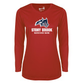 Ladies Syntrel Performance Red Longsleeve Shirt-Wolfie Head Stony Book Marching Band