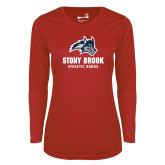 Ladies Syntrel Performance Red Longsleeve Shirt-Wolfie Head Stony Book Athletic Bands