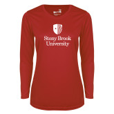 Ladies Syntrel Performance Red Longsleeve Shirt-University Mark Vertical