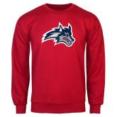 Red Fleece Crew-Wolfie Head