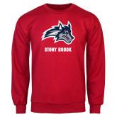 Red Fleece Crew-Wolfie Head and Stony Brook