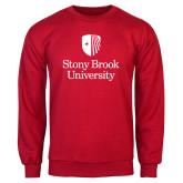 Red Fleece Crew-University Mark Vertical